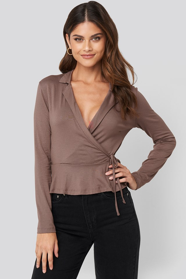 Mink Side knot Detailed Wrap Blouse
