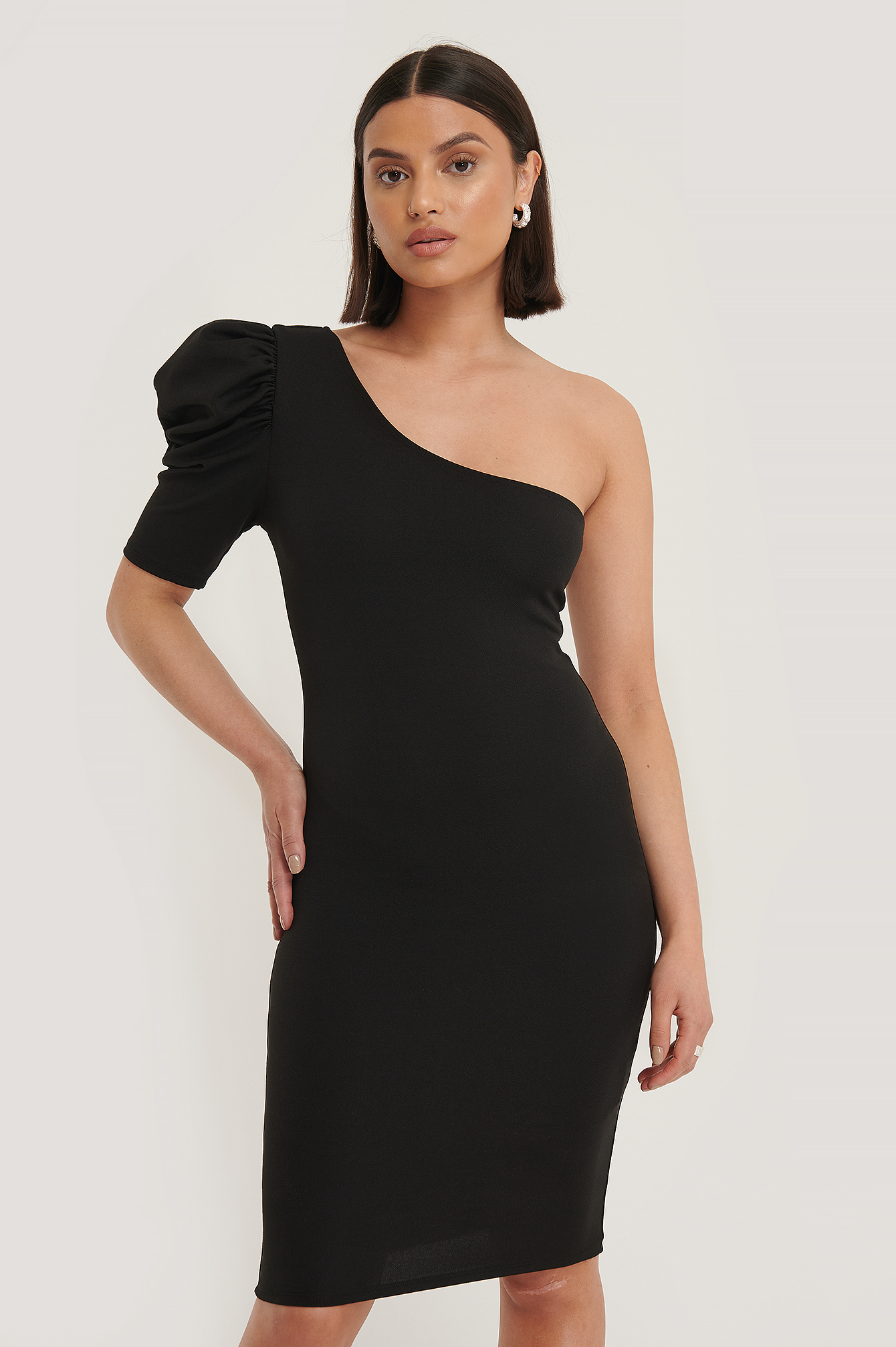 Black Single Sleeve Mini Dress