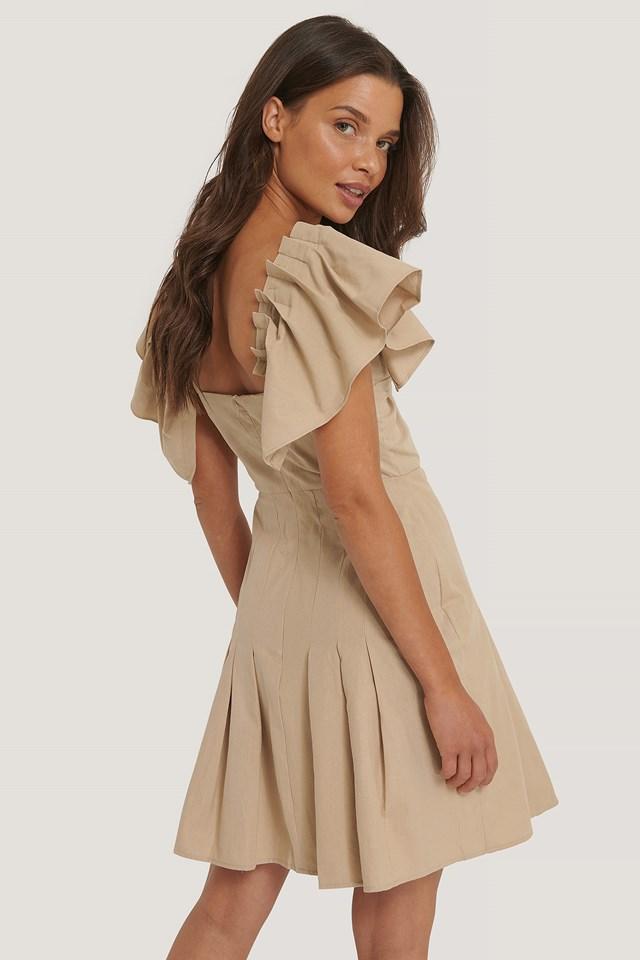 Sleeves Pleated Mini Dress Camel
