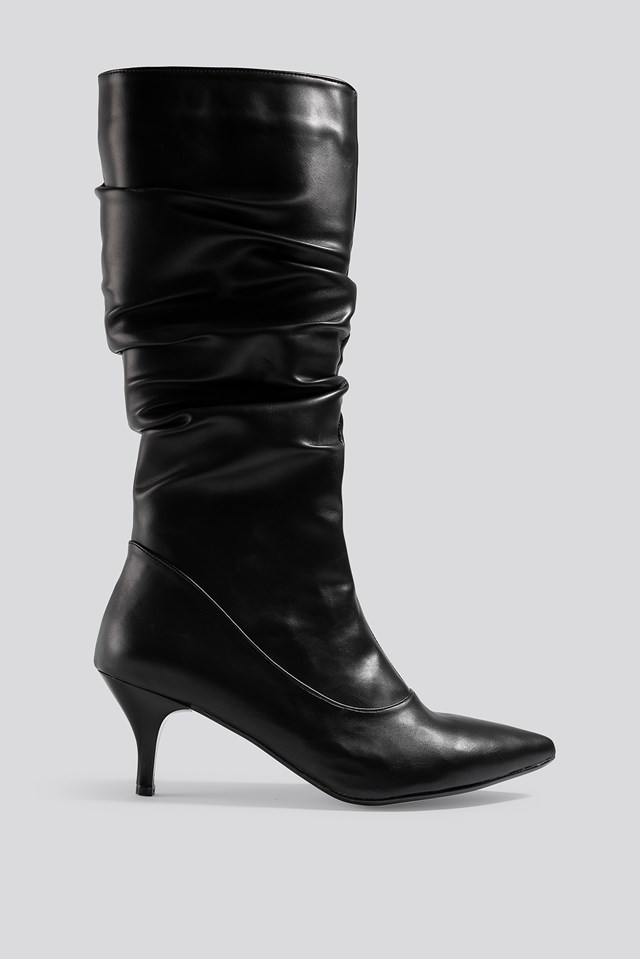 Slouchy High Boots Black