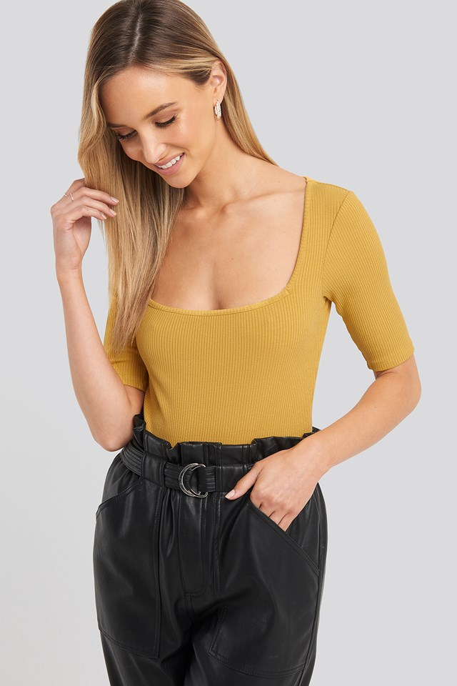 Square Neck Ribbed Body Yellow