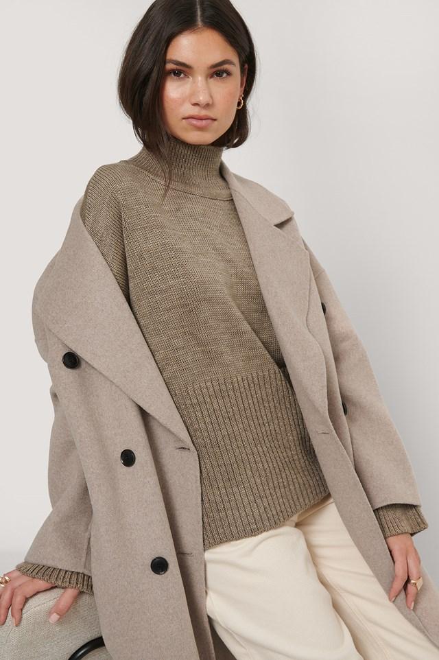 Camel Stand Collar Slit Sweater
