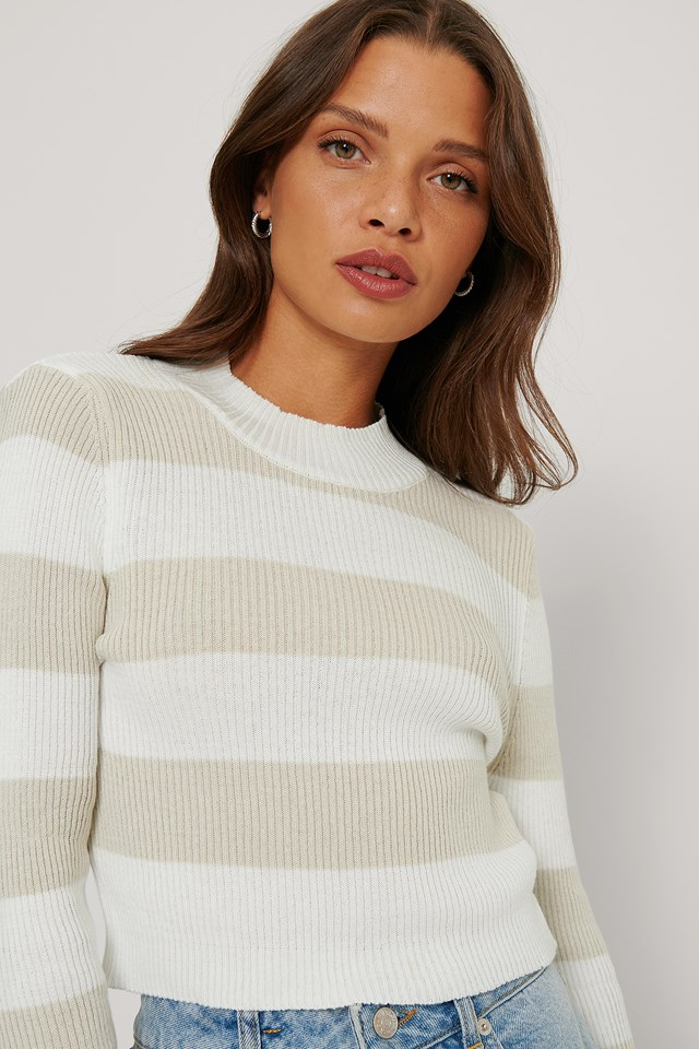 Ecru Striped Crop Sweater