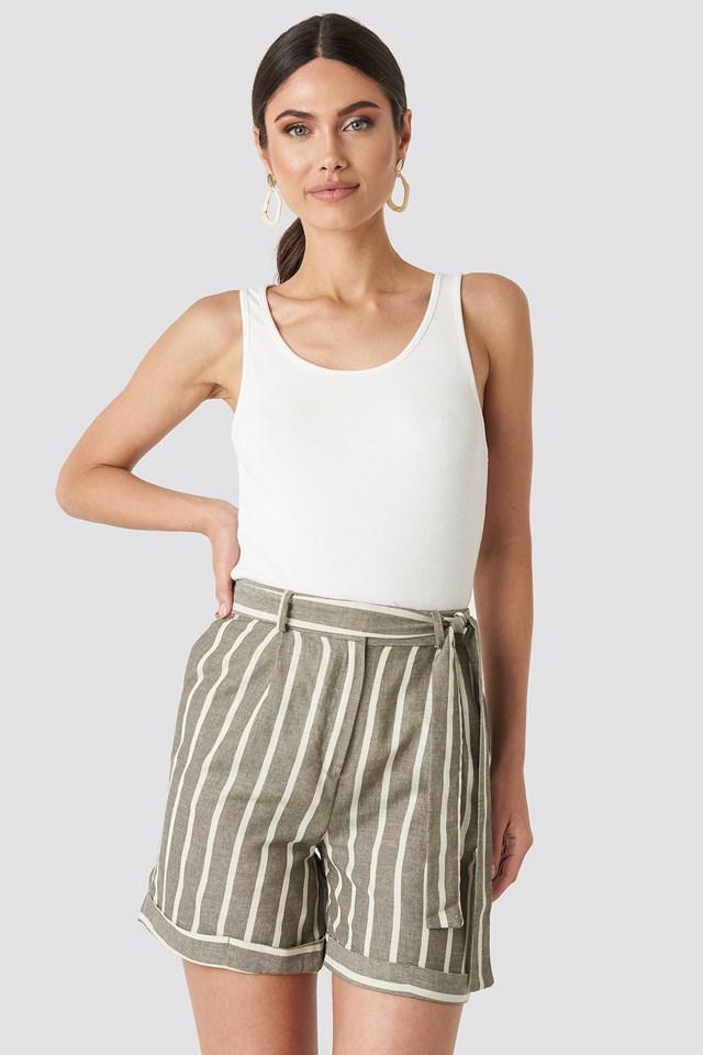 Green Striped Tulum Linen Shorts