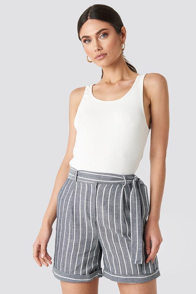 Indigo Striped Tulum Linen Shorts
