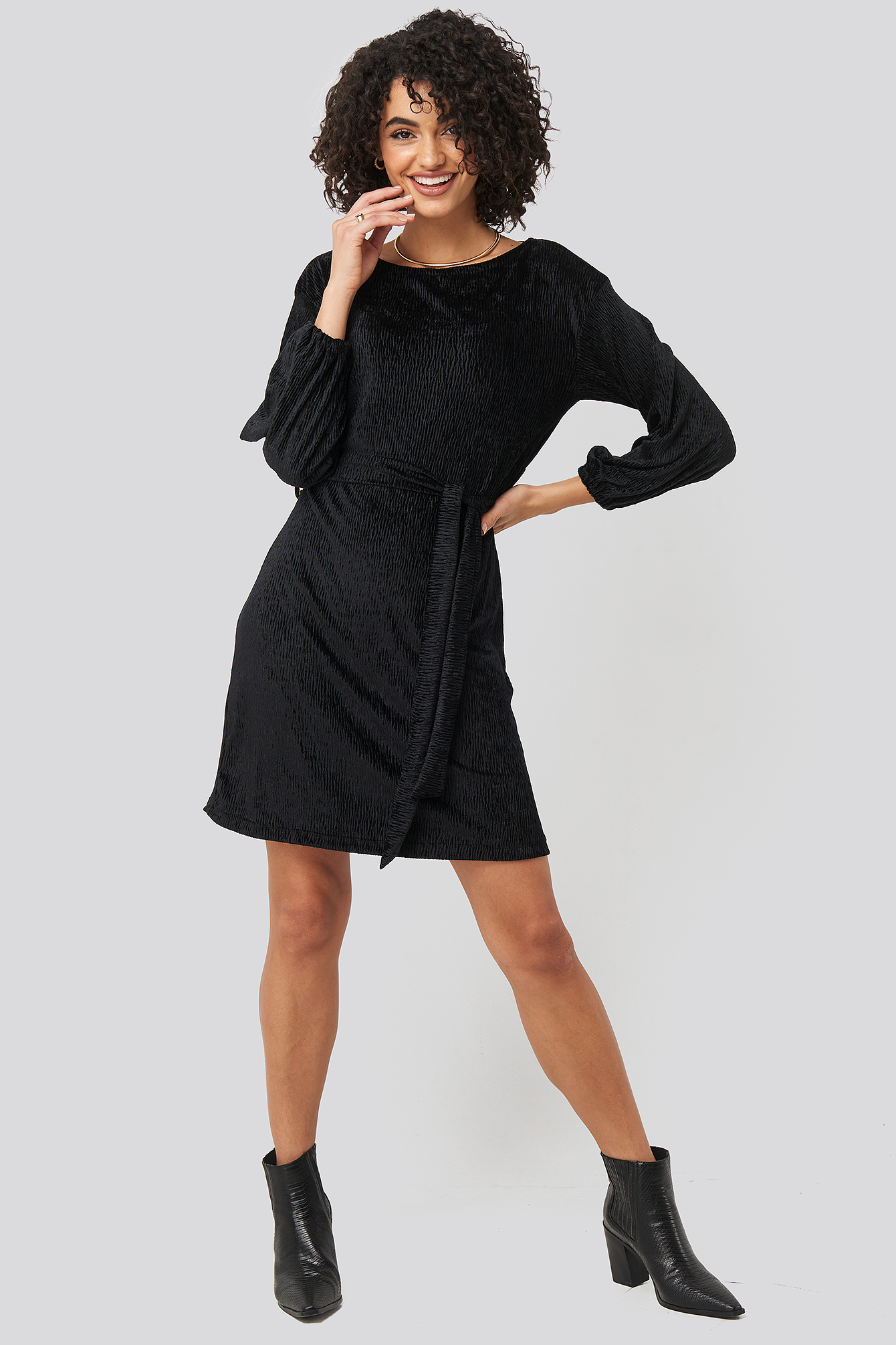 Black Textured Belted Mini Dress