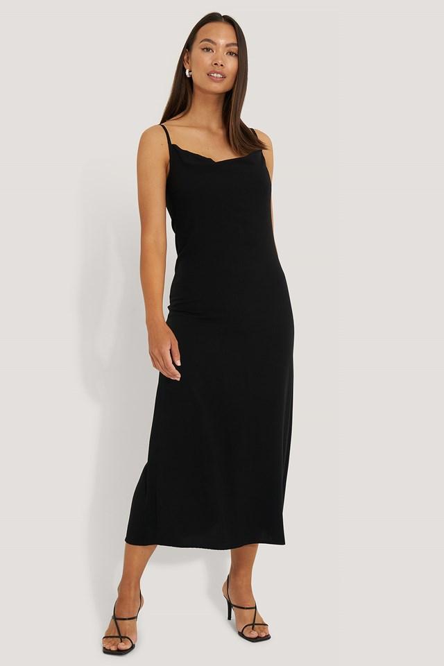 Thin Strap Long Dress Black