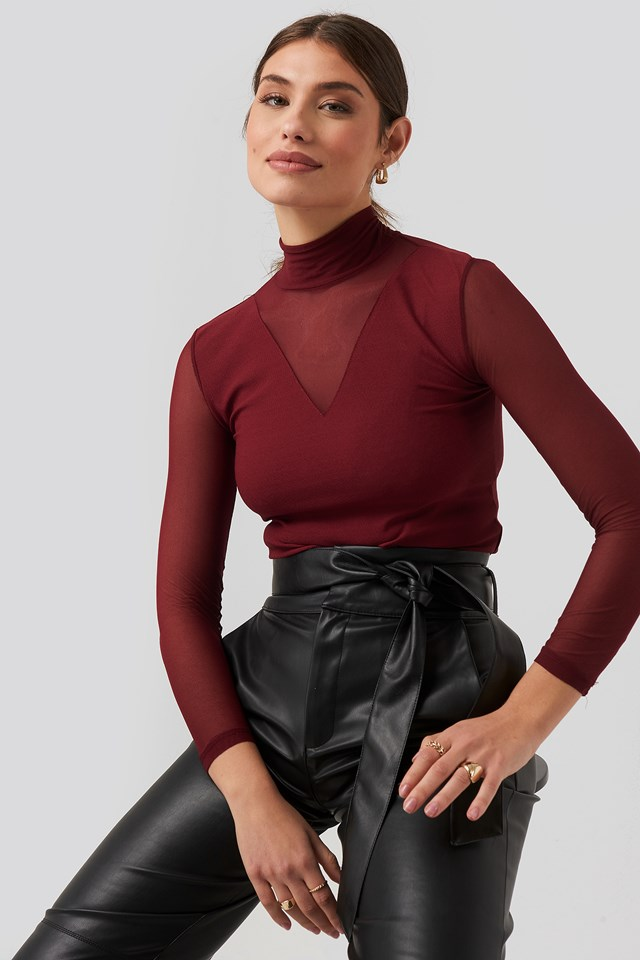 Transparent Knitted Blouse Burgundy