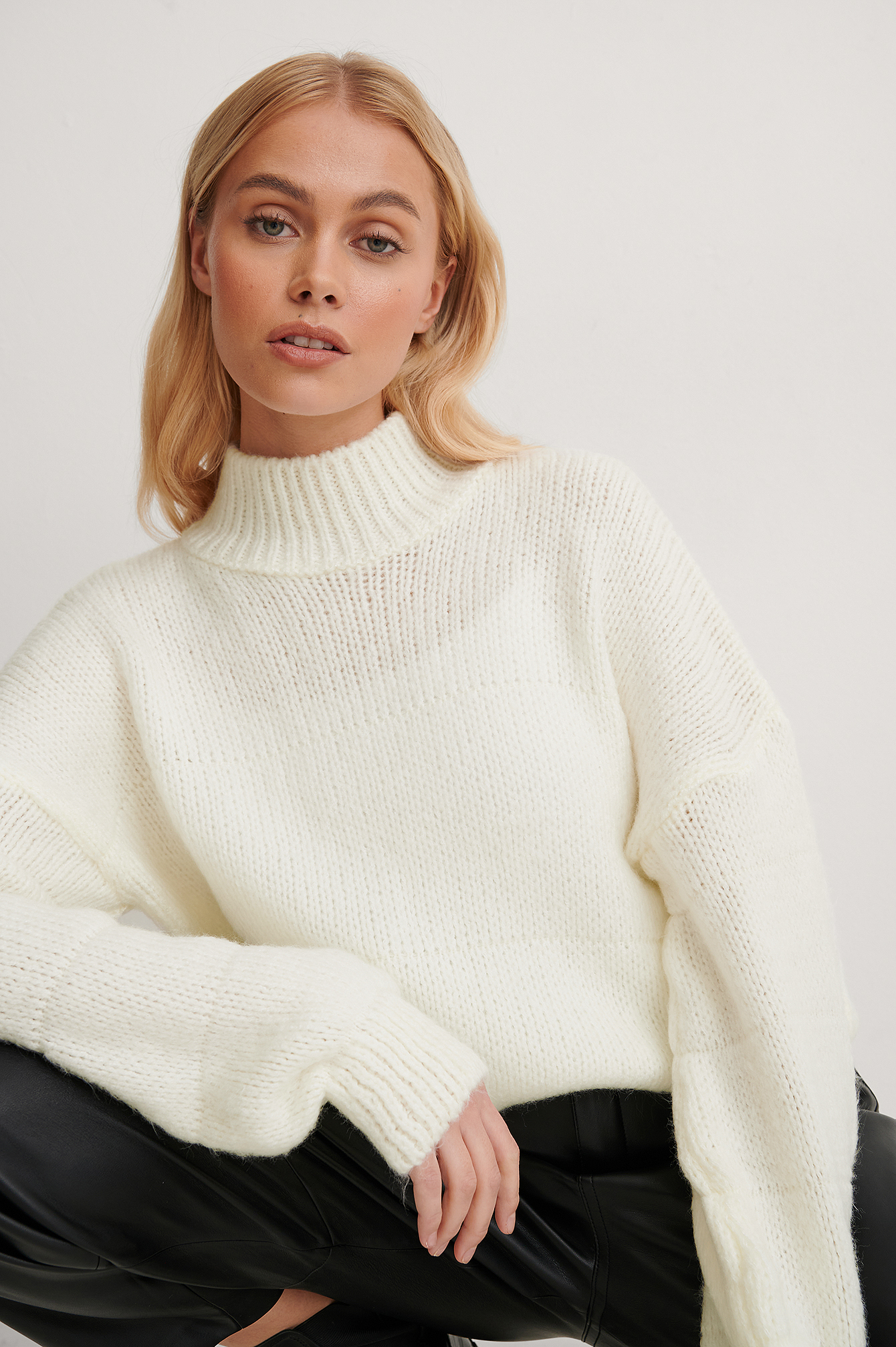 Ecru Turtleneck Knit Sweater