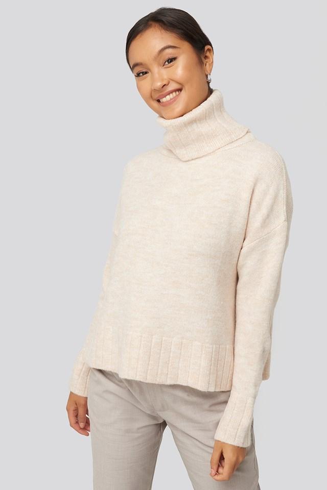 Ecru Turtleneck Knitted Sweater