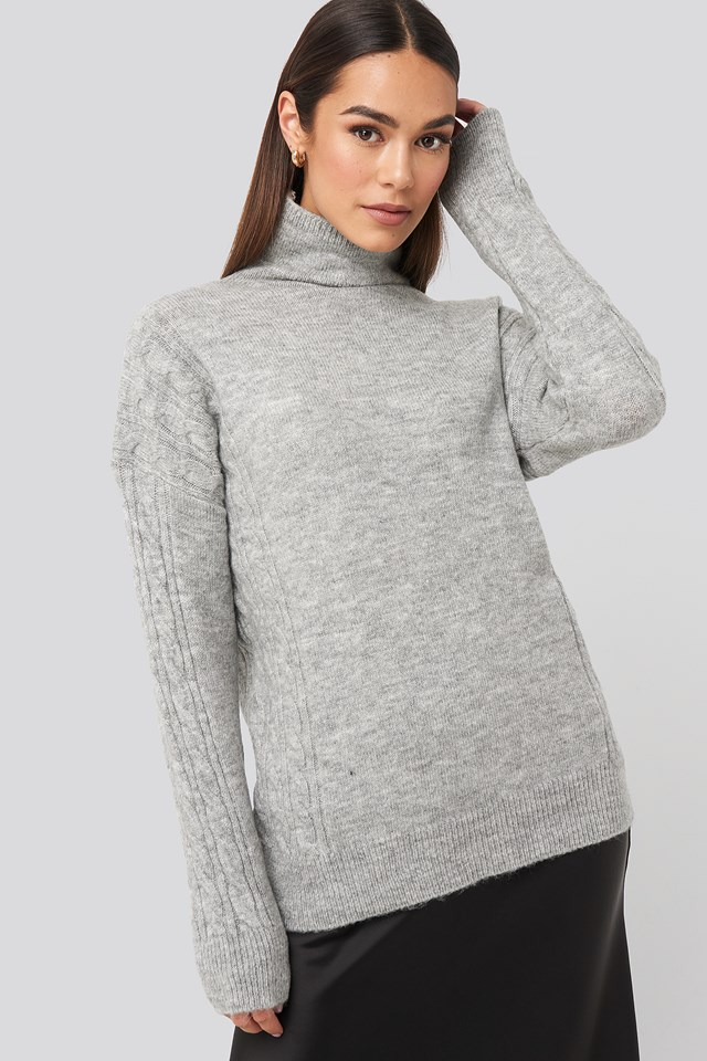 Turtleneck Sleeve Detailed Knitted Sweater Gray