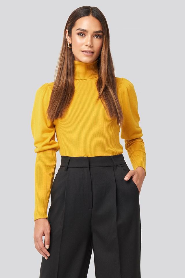 Mustard Turtleneck Sleeve Detailed Sweater
