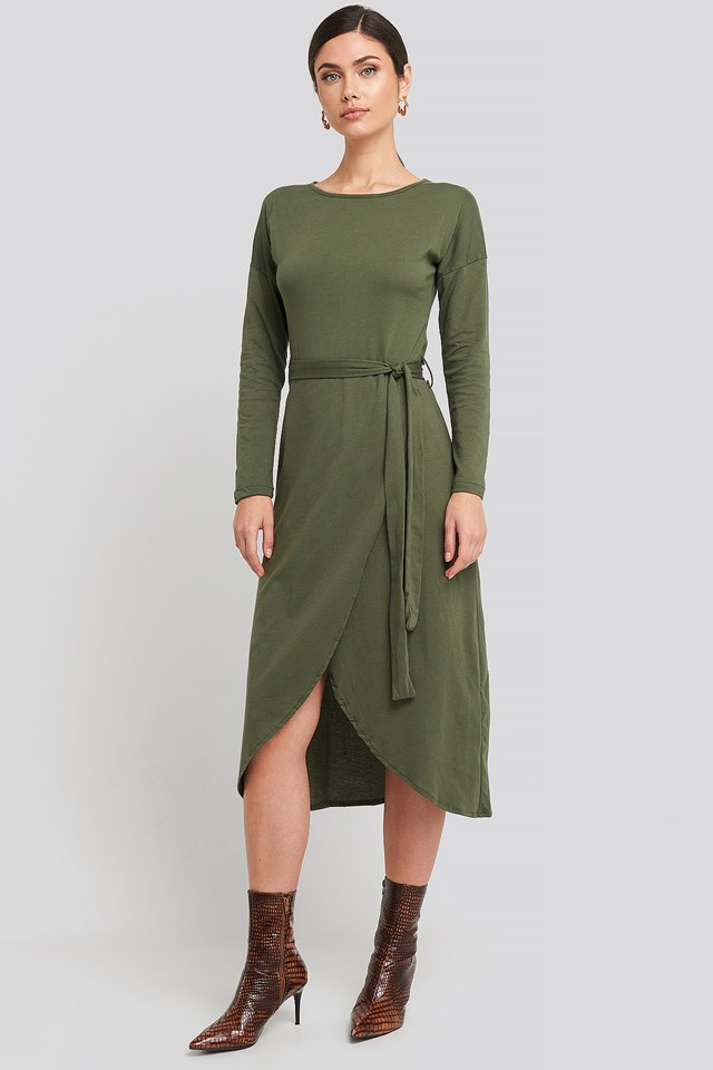 Waist Binding Detailed Midi Dress Khaki