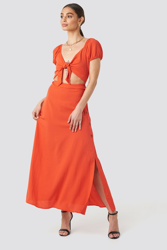 Red Waist Detailed Maxi Dress