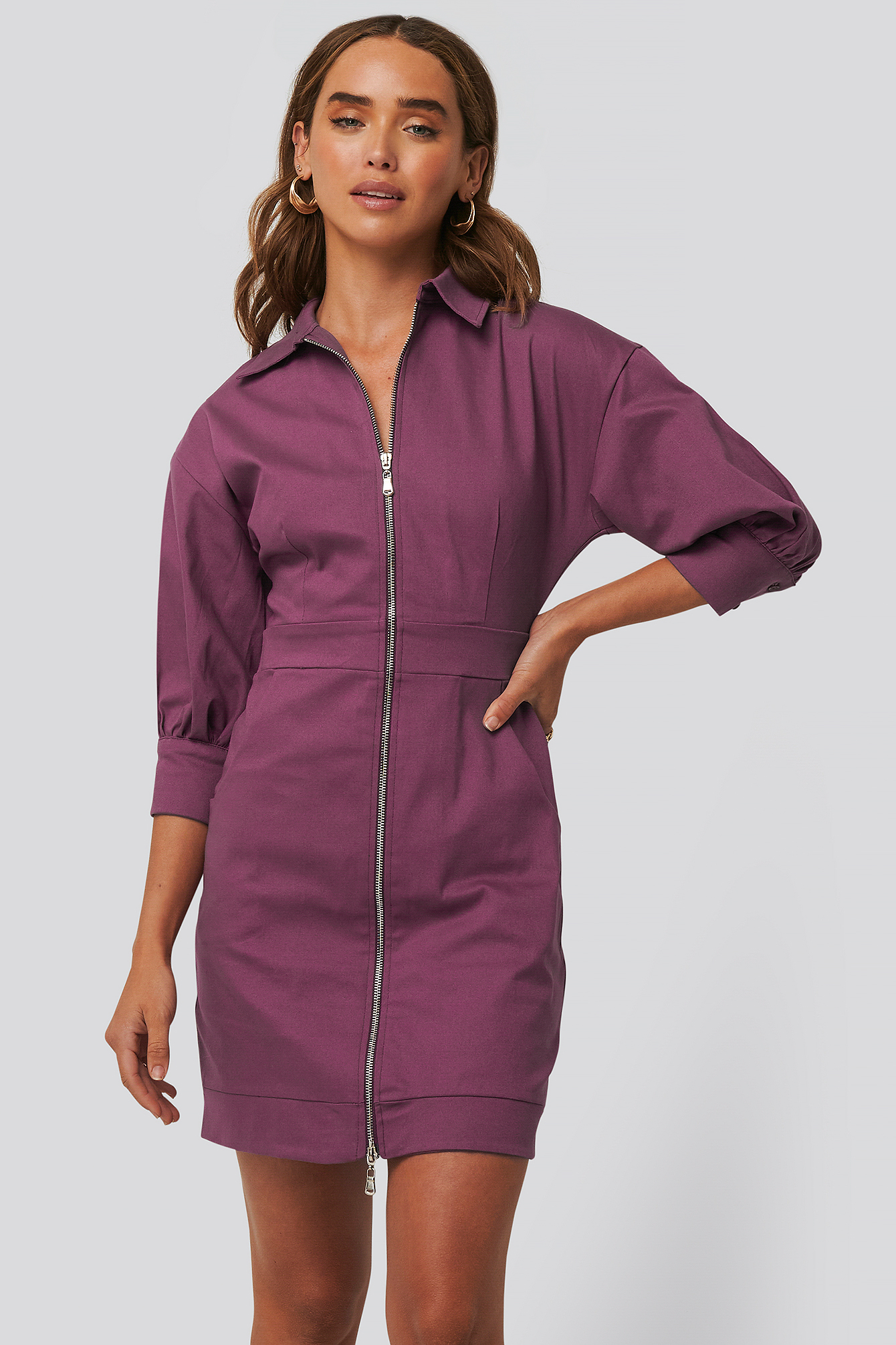 Damson Zipper Mini Dress