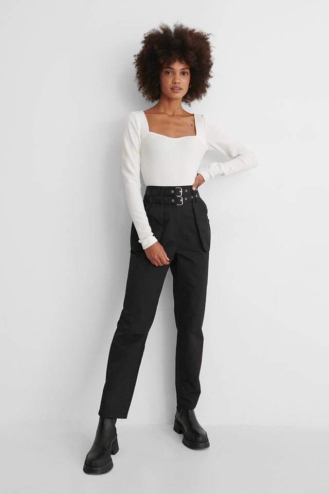 Black Utility Belted Pants