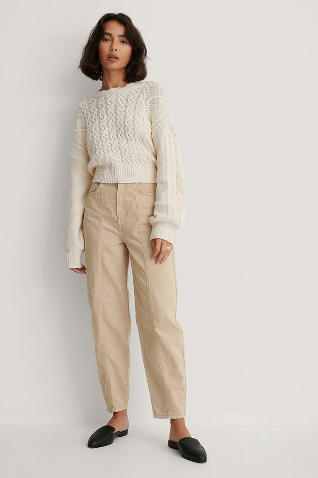 Wide Cocoon Jeans Beige