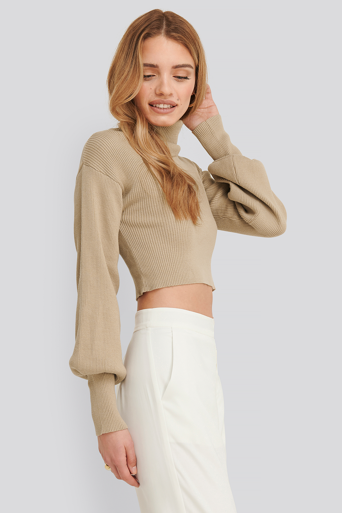 Taupe Aspyn turtleneck knitted sweater