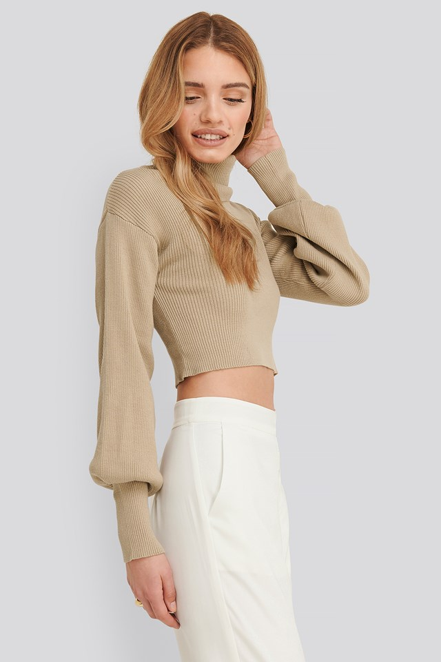Aspyn turtleneck knitted sweater Taupe