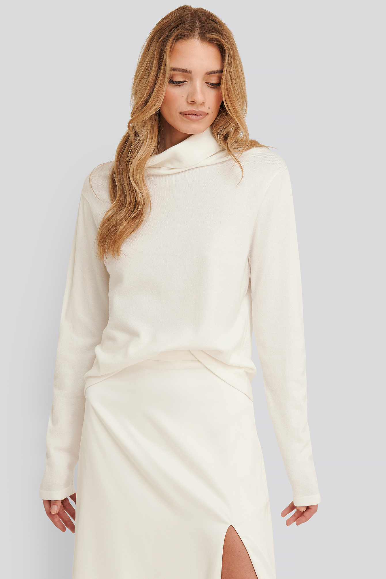 White Shawna Polo Knitted Sweater
